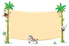 在两棕榈树的横幅与小滑稽的动物 免版税库存照片