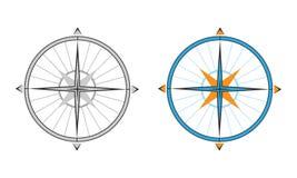 在两种颜色的传染媒介指南针 库存照片