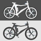 在两种颜色的未来派自行车在被隔绝的背景 免版税库存图片