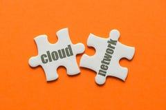 在两配比的难题的词云彩网络在橙色背景 图库摄影