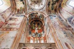 在中世纪修道院大教堂下Gelati,联合国科教文组织世界遗产名录站点圆顶的古老壁画  库存图片