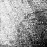 在中世纪城堡堡垒墙壁上的龙标志 库存图片