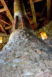 在中世纪宫殿的幻想重建的原始的烟囱在村庄Racos,特兰西瓦尼亚 免版税图库摄影