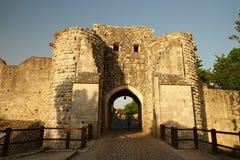 在中世纪普罗万墙壁的城市门在法国 免版税库存图片