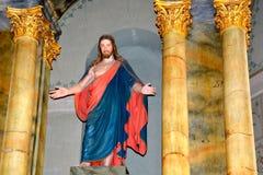 在中世纪被加强的教会Cristian里面,特兰西瓦尼亚 图库摄影
