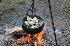 在中世纪野外用的全套炊具里 免版税库存照片
