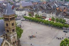 在中世纪马斯特里赫特的鸟瞰图 免版税库存图片