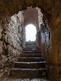 在中世纪Ajlun城堡的湿台阶在约旦 图库摄影