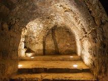 在中世纪Ajlun城堡里面在约旦 免版税库存照片