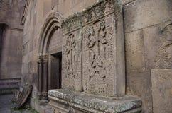 在中世纪khachkars的惊人的被雕刻的样式,创造由13世纪雕刻师Pavgos在Goshavank修道院,哎呀 图库摄影