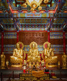 在中国寺庙的三菩萨雕象 免版税图库摄影