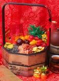 在中国新年度背景的干果子 免版税图库摄影