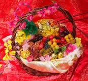 在中国新年度背景的干果子 库存照片
