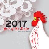 在中国日历的雄鸡标志 2017个新年 图库摄影