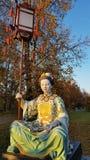 在中国桥梁的雕象在Alexanders公园, Tsarskoye Selo, Sai 库存照片