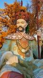 在中国桥梁的雕象在Alexanders公园, Tsarskoye Selo, Sai 免版税库存照片