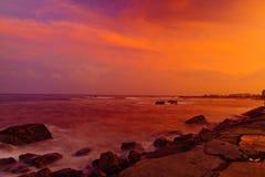 在中国海的日落 免版税库存图片