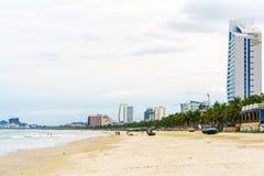 在中国海滩的海视图在岘港在越南 免版税库存图片