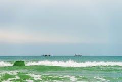 在中国海滩的船在岘港在越南 库存照片