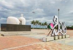在中国海滩的雕塑在岘港在越南 免版税库存照片