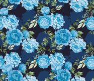 在中国艺术风格样式的水彩无缝的样式与在深蓝背景的牡丹 库存照片