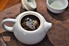 在中国茶罐的普洱哈尼族彝族自治县茶 免版税图库摄影