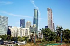 在中国,广州都市风景、mordern城市风景和地平线的都市场面 免版税库存照片
