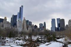 在中央公园南部的冬天  免版税库存照片