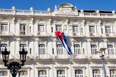 在中央公园附近的历史的旅馆Inglaterra在哈瓦那,古巴 免版税库存照片