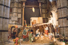 在中央寺院二锡耶纳的传统圣诞节小儿床风景 圣玛丽亚Assunta大城市大教堂  托斯卡纳 意大利 库存图片