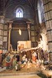在中央寺院二锡耶纳的传统圣诞节小儿床风景 圣玛丽亚Assunta大城市大教堂  托斯卡纳 意大利 免版税库存照片