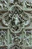 在中央寺院大教堂门的细节  图库摄影