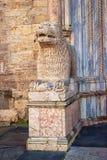 在中央寺院大教堂附近的门的大理石狮子雕塑在帕尔马 免版税库存照片