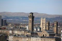在中央格拉斯哥,苏格兰,英国的一个屋顶视图 库存照片