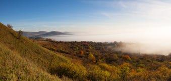 在中央漂泊高地的有薄雾的早晨,捷克 免版税库存图片