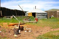 在中央蒙古的蒙古语Ger 库存照片