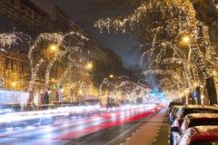 在中央街道上的圣诞树光在布达佩斯 免版税库存图片