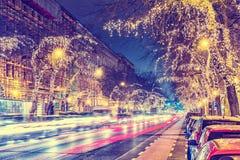 在中央街道上的圣诞灯在布达佩斯 库存图片