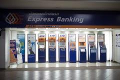 在中央Kad Suan Kaew Chiangmai的ATM机器 免版税图库摄影