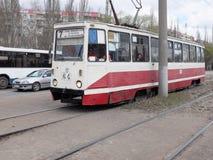 在中止的老电车 免版税库存照片