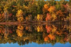 在中的一个湖与明亮的五颜六色的秋天树 晴朗的日 阿科底亚国家公园 美国 缅因 免版税库存图片
