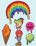 在中立浅兰的背景冰淇凌 免版税库存图片