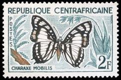 在中非共和国打印的邮票显示一只蝴蝶, Charaxe Mobilis 免版税库存照片