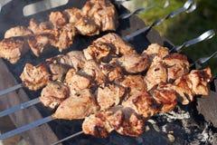 在串烤的开胃肉 烹调 库存图片