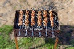 在串的可口水多的油煎的烤肉串在炭烬的格栅烹调了 免版税库存图片