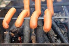 在串的开胃烤香肠 免版税库存照片