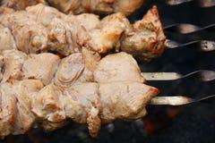 在串的烤肉串 库存照片