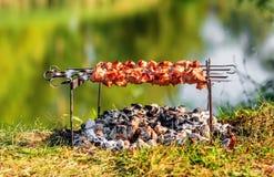 在串的猪肉shashlik 图库摄影