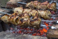 在串的肉在闷燃的煤炭 免版税图库摄影