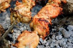 在串的鸡肉在木炭 库存照片